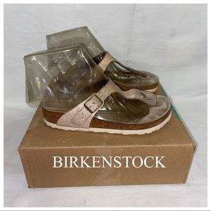 Birkenstock Gizeh Washed Matlic Rose Gold thong